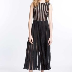 Tracy Reese Striped Mid Sleeveless Cocktail Dress